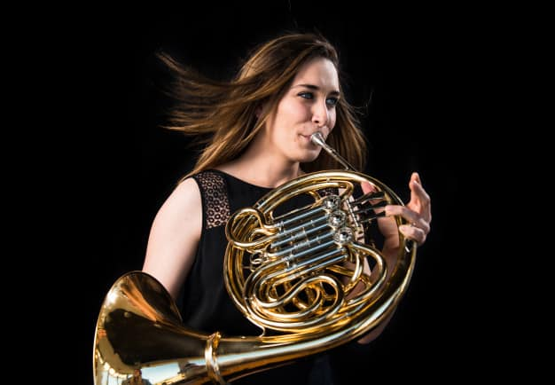 Hardest brass instrument to play, the French horn.