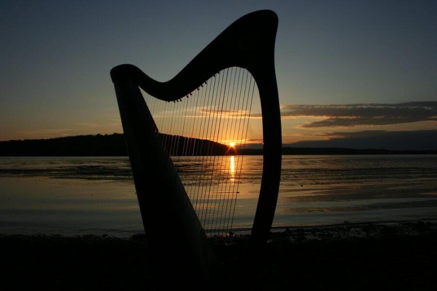 The traditional Irish instrument Celtic harp.