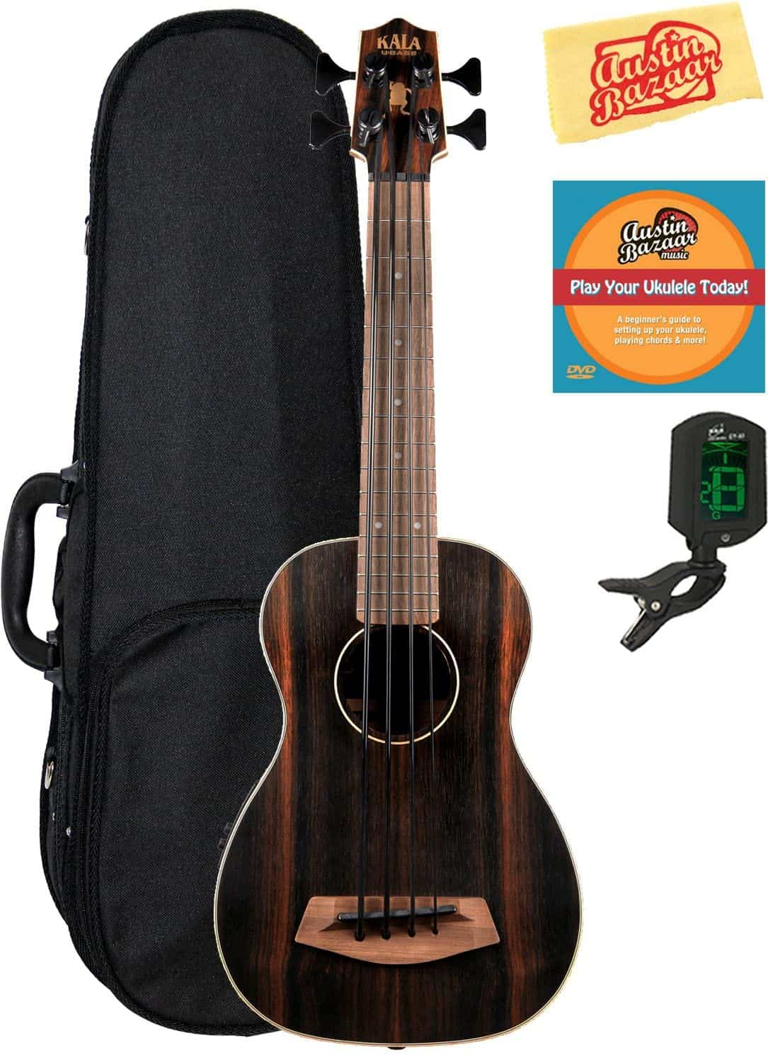 Kala U-Bass-EBY-FS Striped Ebony Fretted Acoustic-Electric U-Bass Ukulele Bundle with Hard Case, Tuner, Austin Bazaar Instructional DVD, and Polishing Cloth.