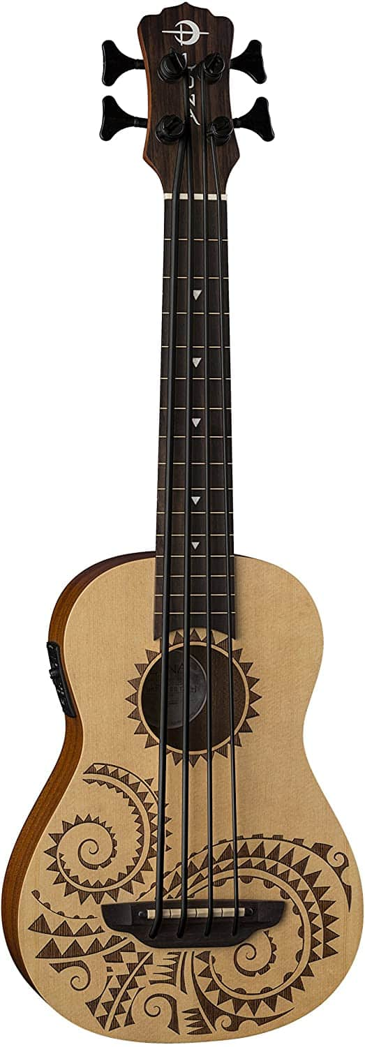 Luna Bari-Bass Ukulele with Preamp-Tattoo, (UKE BBASS TAT)