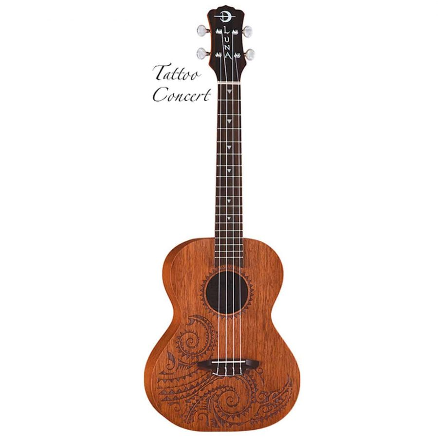 Luna Tatoo concert mahogany ukulele