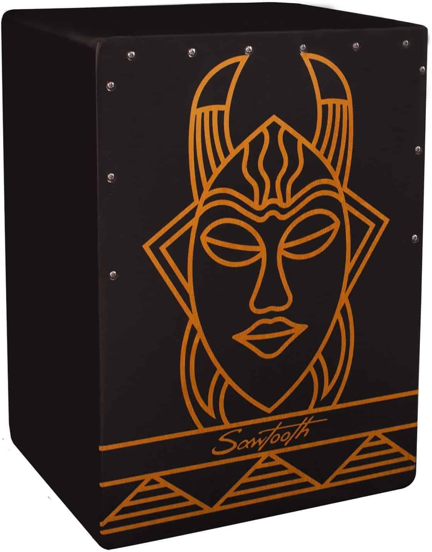 Sawtooth Harmony Series Hand Stained Spirit Design Satin Black Compact Cajon