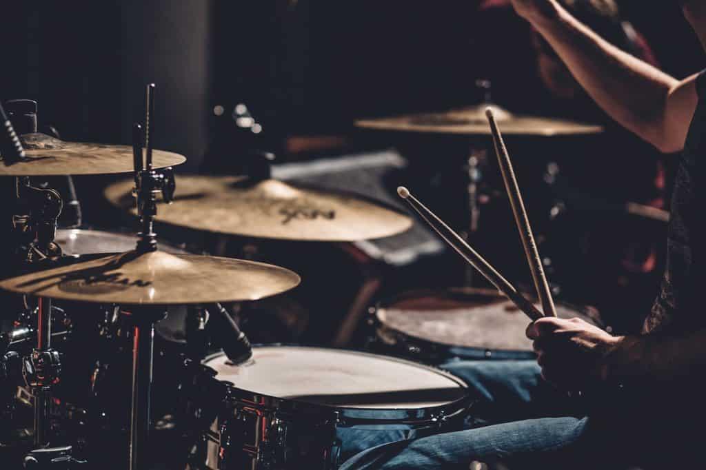 Drum set on a drum riser & portable drum riser