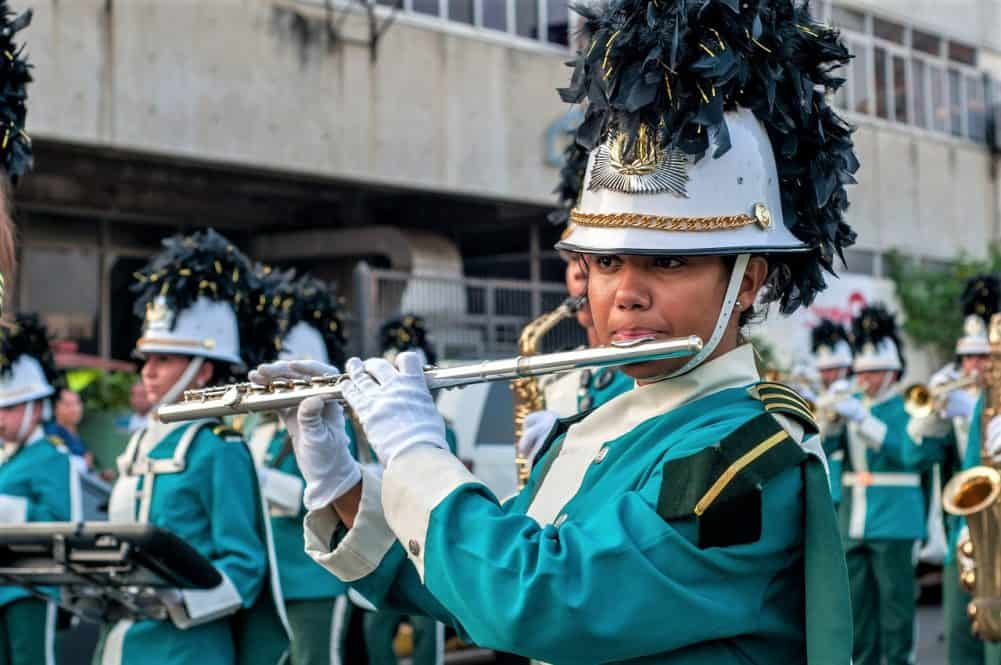 The flute is a common marching band instrument.