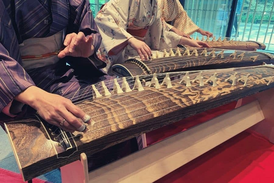 Playing the Japanese string instrument, Koto