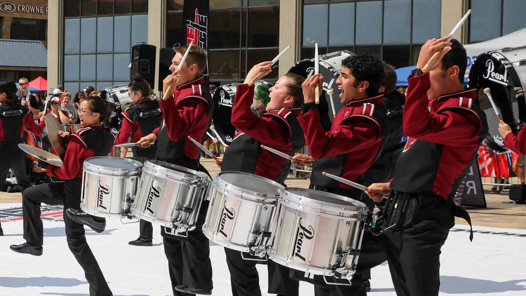 Marching band instruments percussion section.