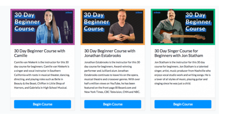 30 day singer beginner course options.