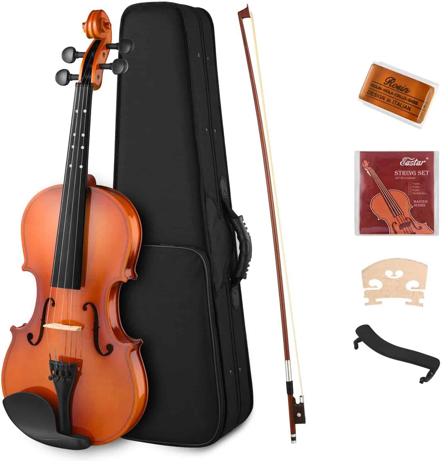 Eastar 3 4 Violin Set Natural Varnish Fiddle for Kids Beginners Students EVA-2
