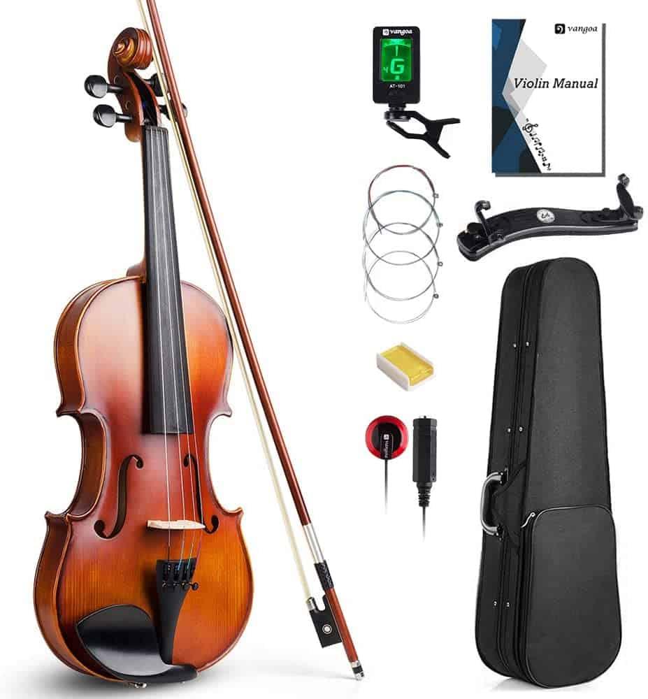 Vangoa 4/4 Full Size Solid Wood Violin Set, Spruce Top Ebony Fitted Beginner Acoustic Violin .