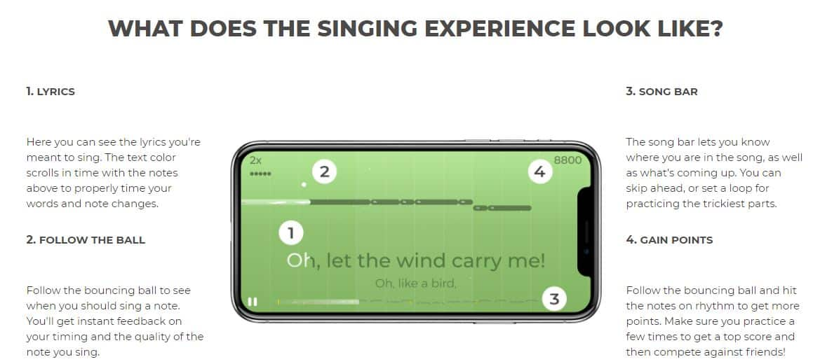Yousician Singing Learning Interface.