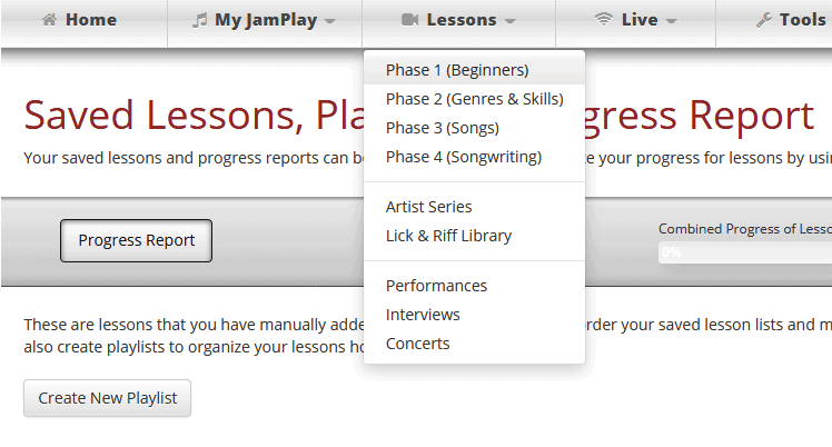 JamPlay 4 phases of lessons.