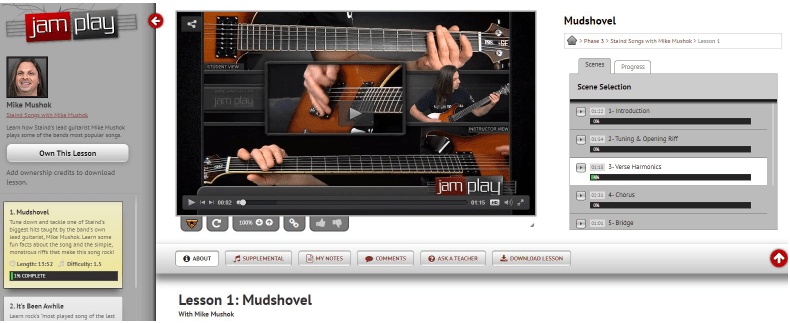 JamPlay song lesson learning interface.