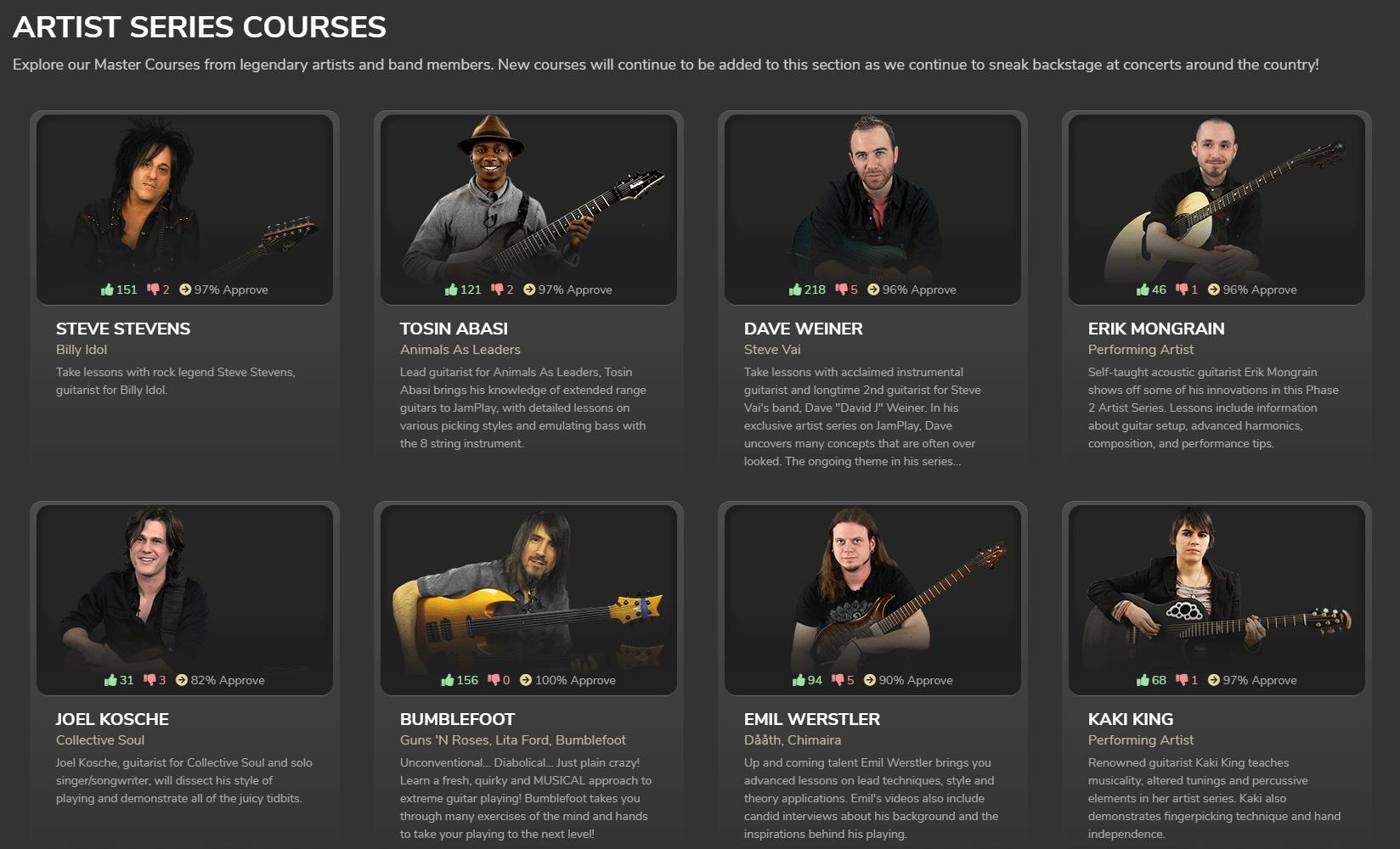JamPlay artist series courses.