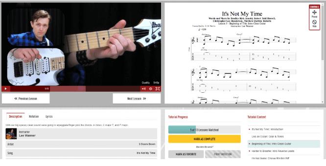 Guitar Tricks Learning Interface.