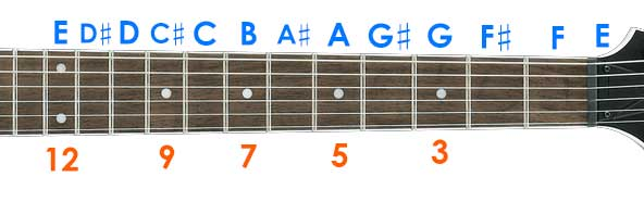 Guitar fretboard notes markers.