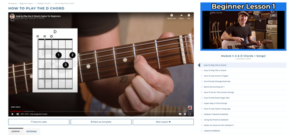 JustinGuitar Learning Interface.