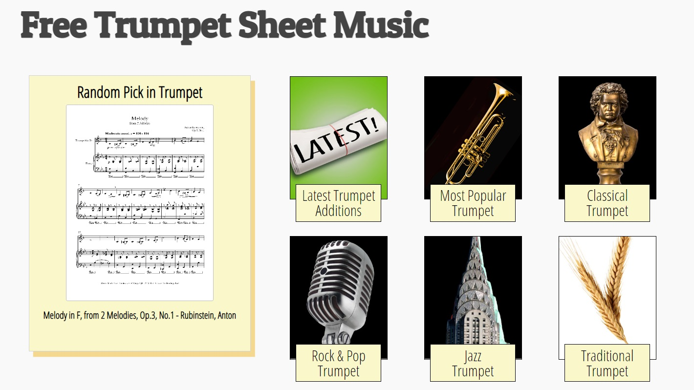 8Notes website with written learning resources for the trumpet