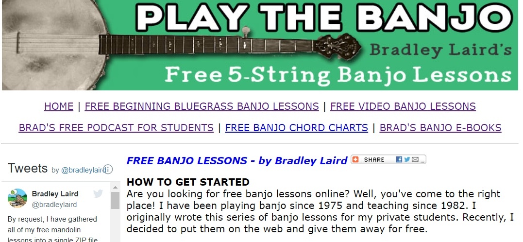Play the banjo with Bradly Laird online learning website