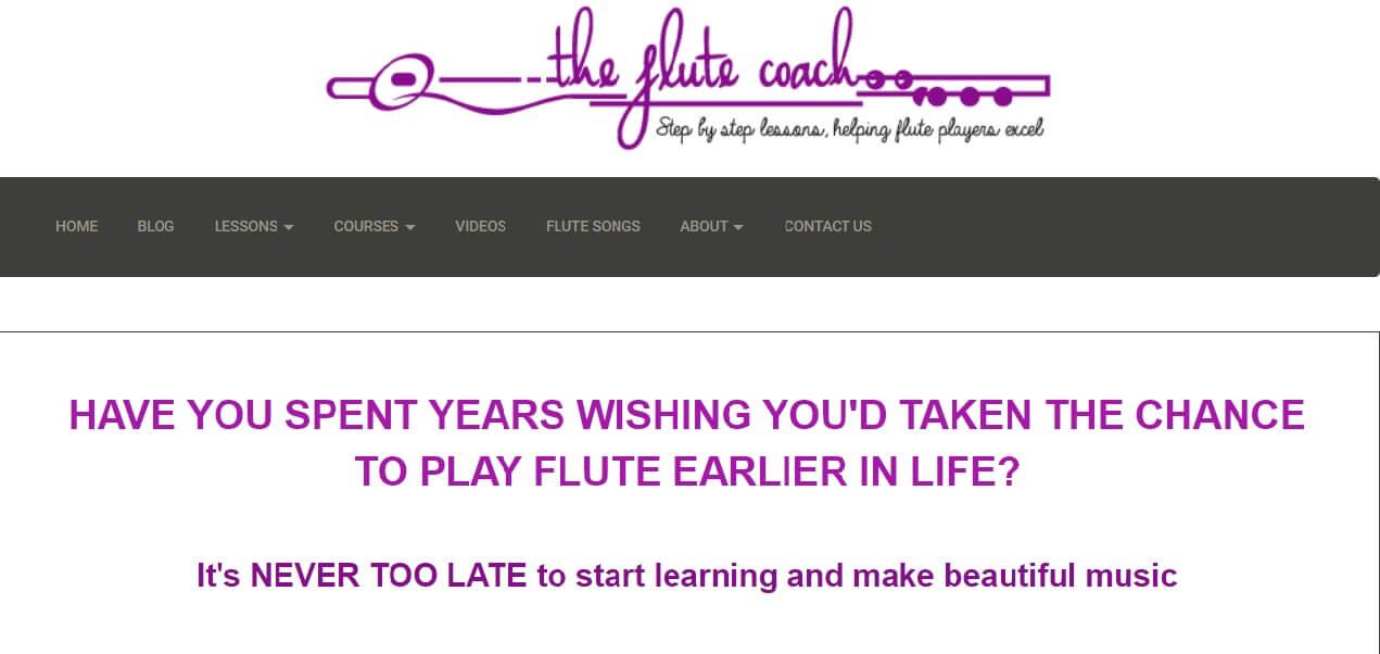 Flute Coach online flute learning website layout