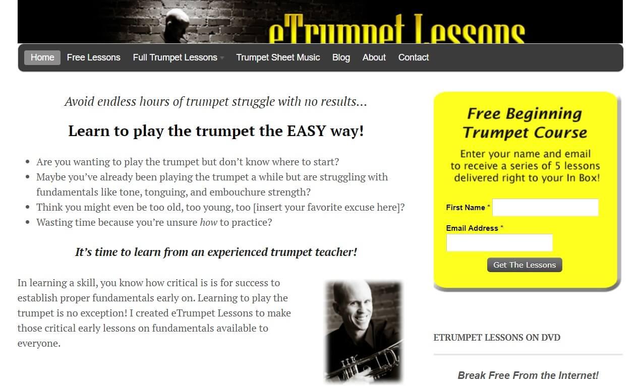 eTrumpet online website for learning the trumpet