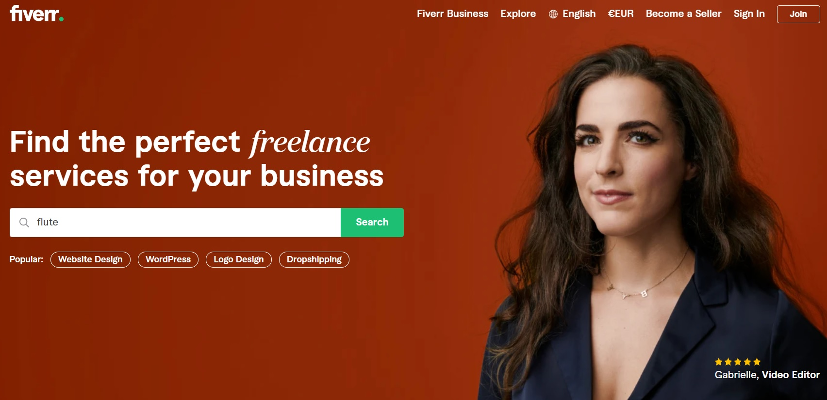 Fiverr freelancing website with online flute classes