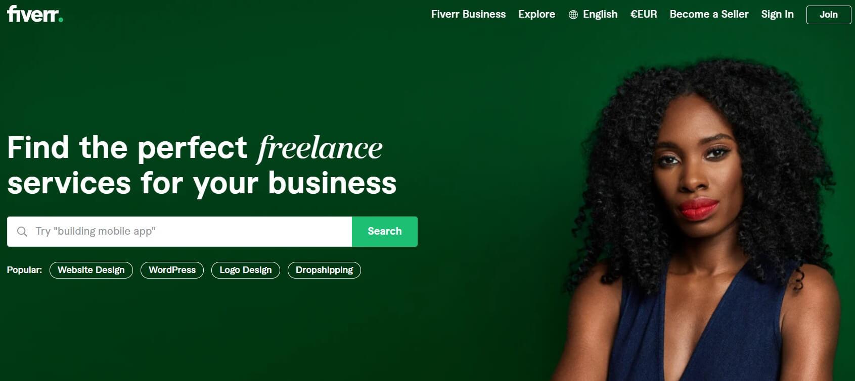 Fiverr freelancing website layout