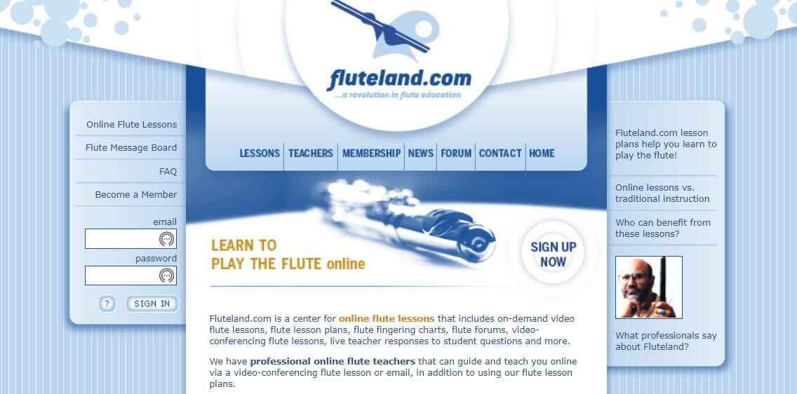 Flute Land online flute learning lessons website layout
