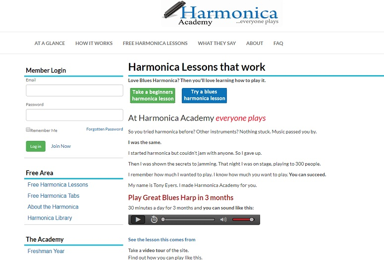 Harmonica Academy website with online harmonica courses for beginners