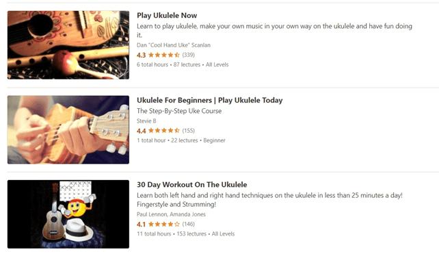 Udemy online courses: Play Ukulele Now, Ukulele For Beginners, 30 Day Workout on the Ukulele