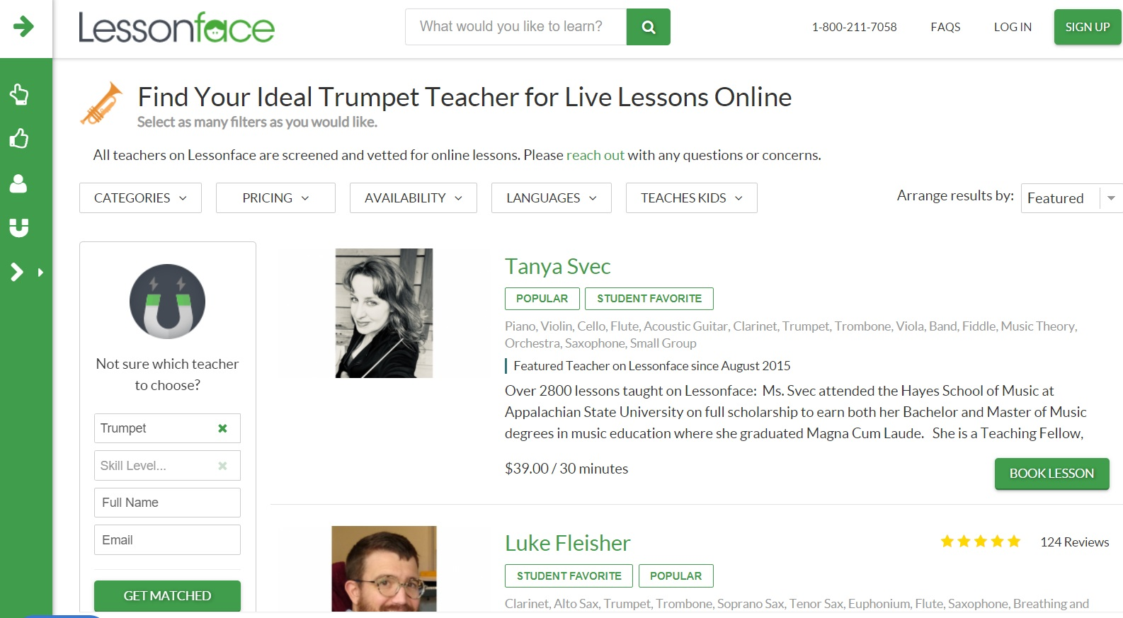 LessonFace online learning website layout