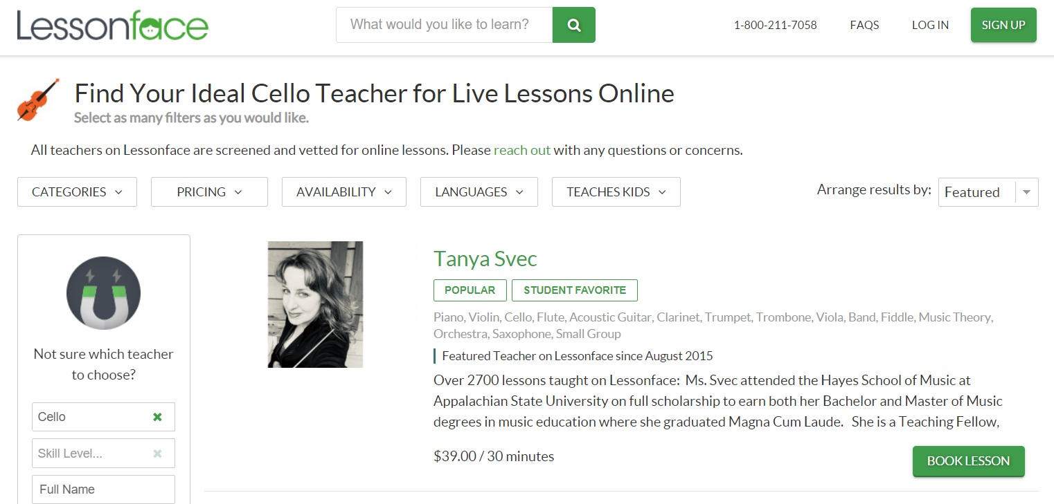 LessonFace website layout offering private lessons with various cello tutors