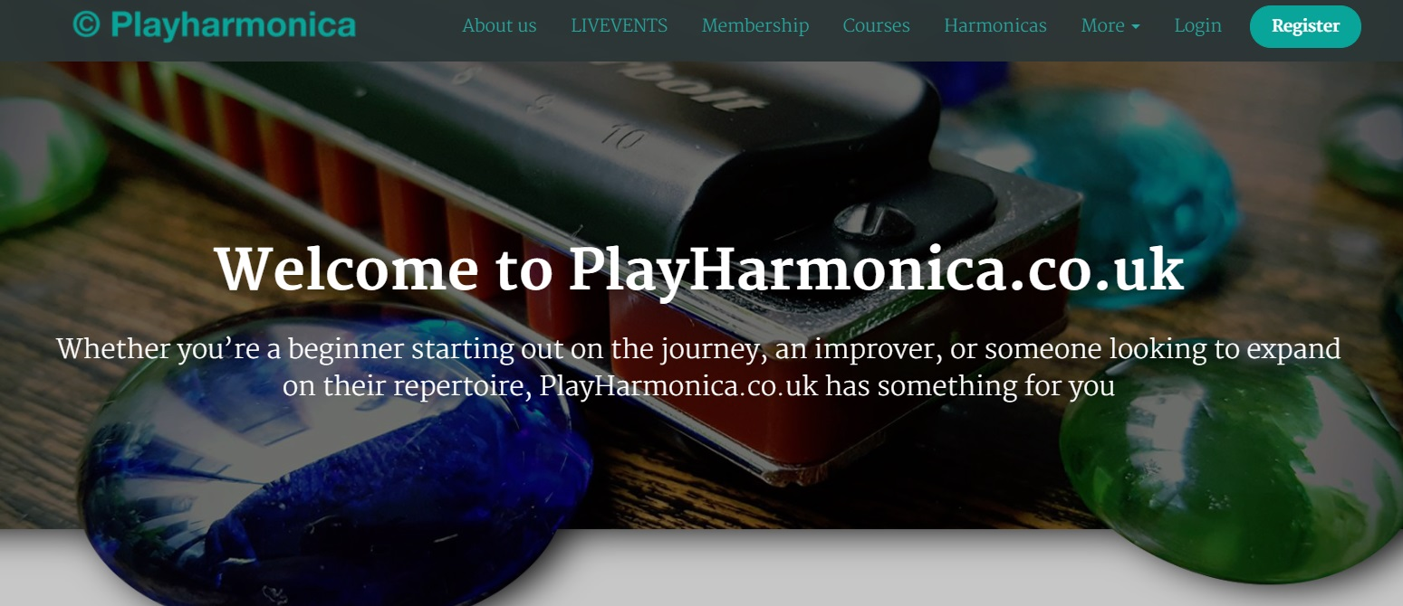Play Harmonica platform with harmonica classes, live content, and membership packages