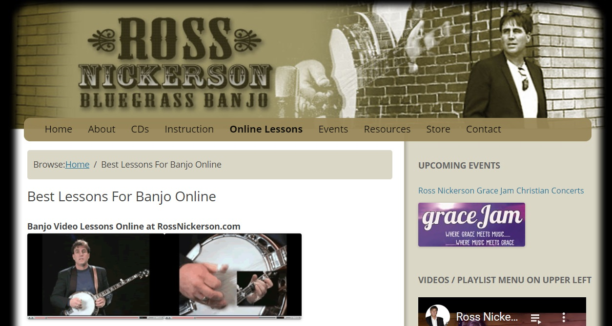 Ross Nickerson Bluegrass Banjo with free online banjo lessons