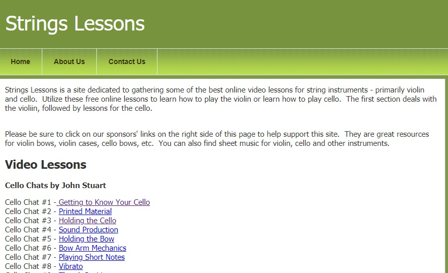 Strings Lessons Online website layout
