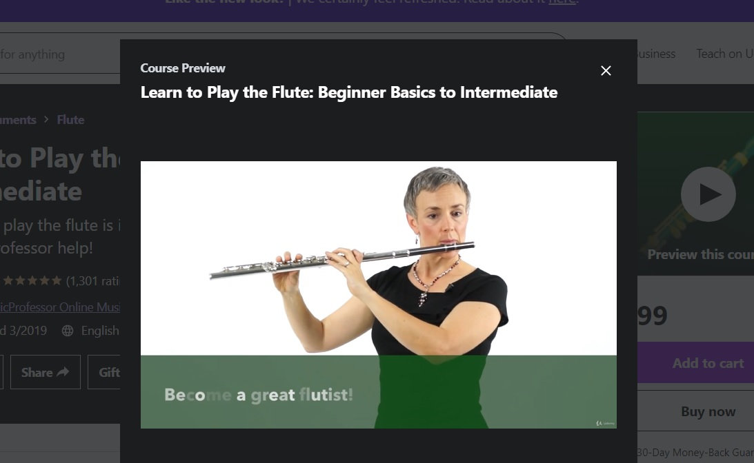 Udemy online flute lessons