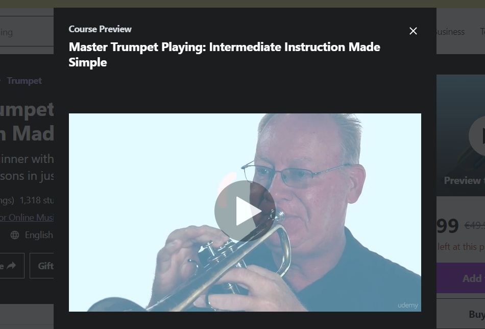 Udemy online trumpet private lessons