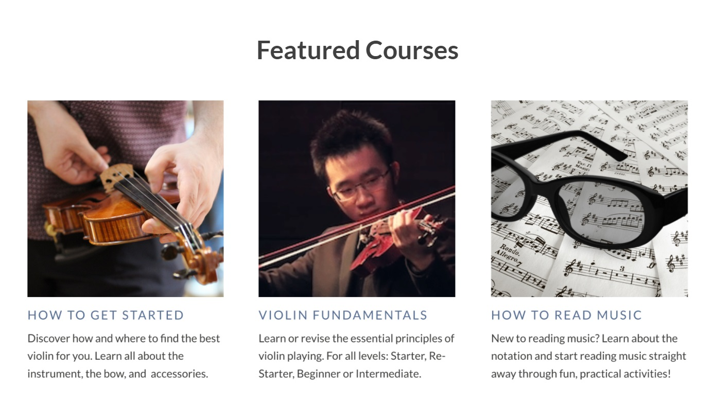 Violin School Featured Courses on How to get started, Violin fundamentals, and how to read music
